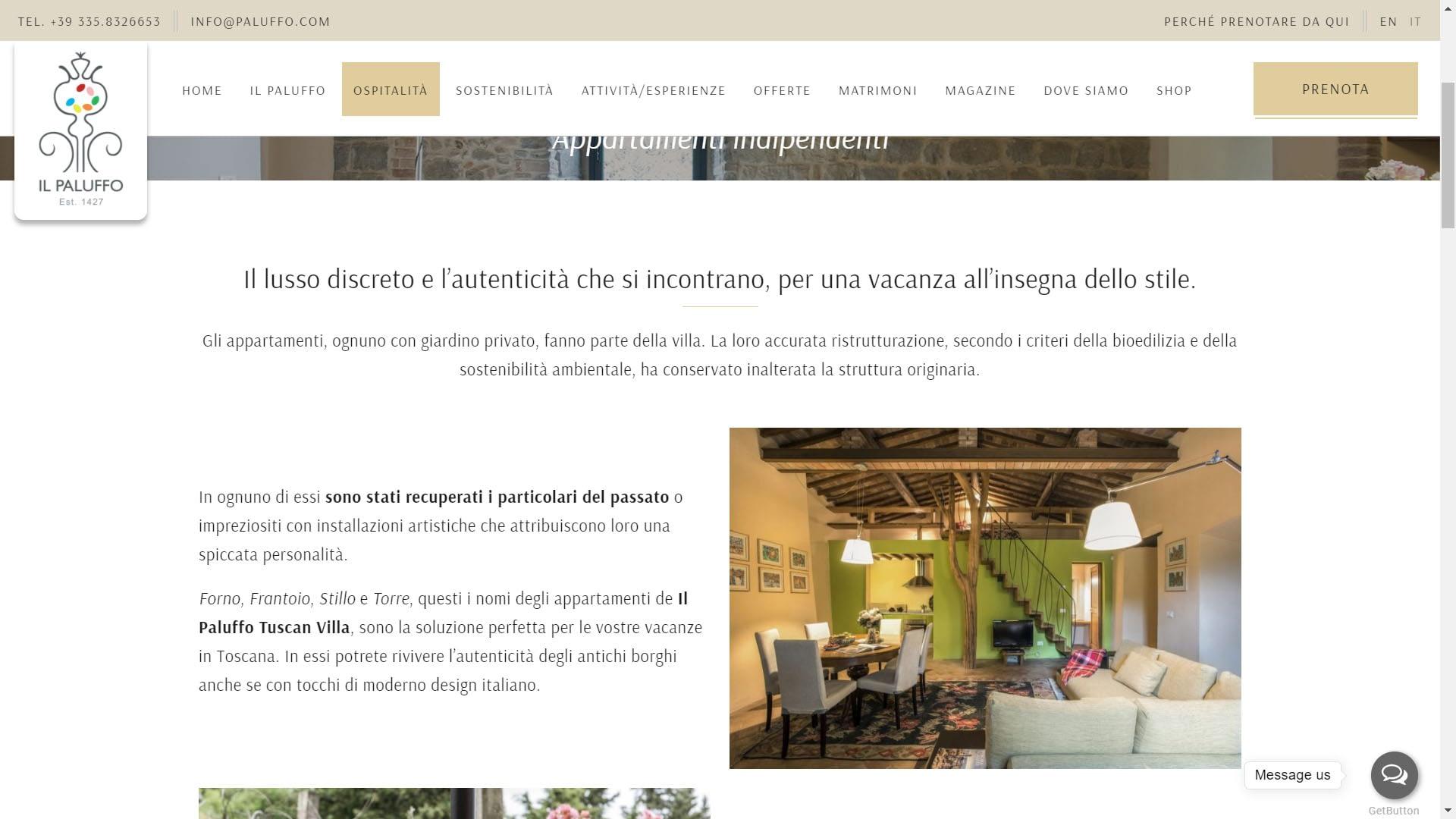 Realizzazione sito web per villa in Toscana