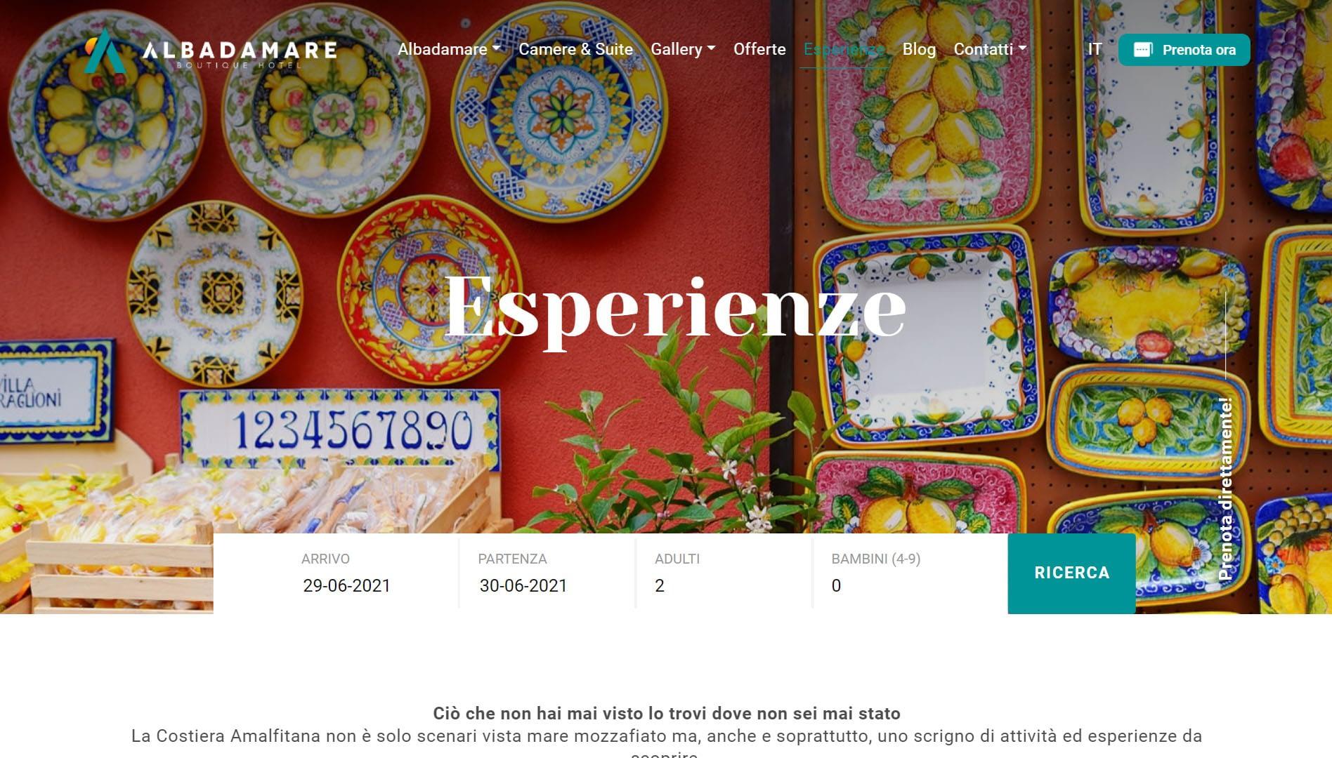 Albadamare Sito web per boutique hotel 5