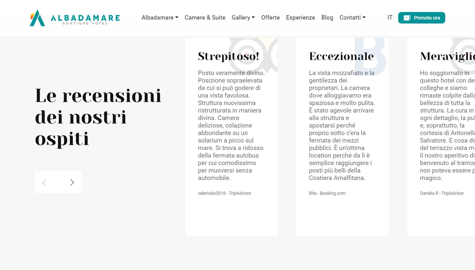 Albadamare Sito web per boutique hotel 4