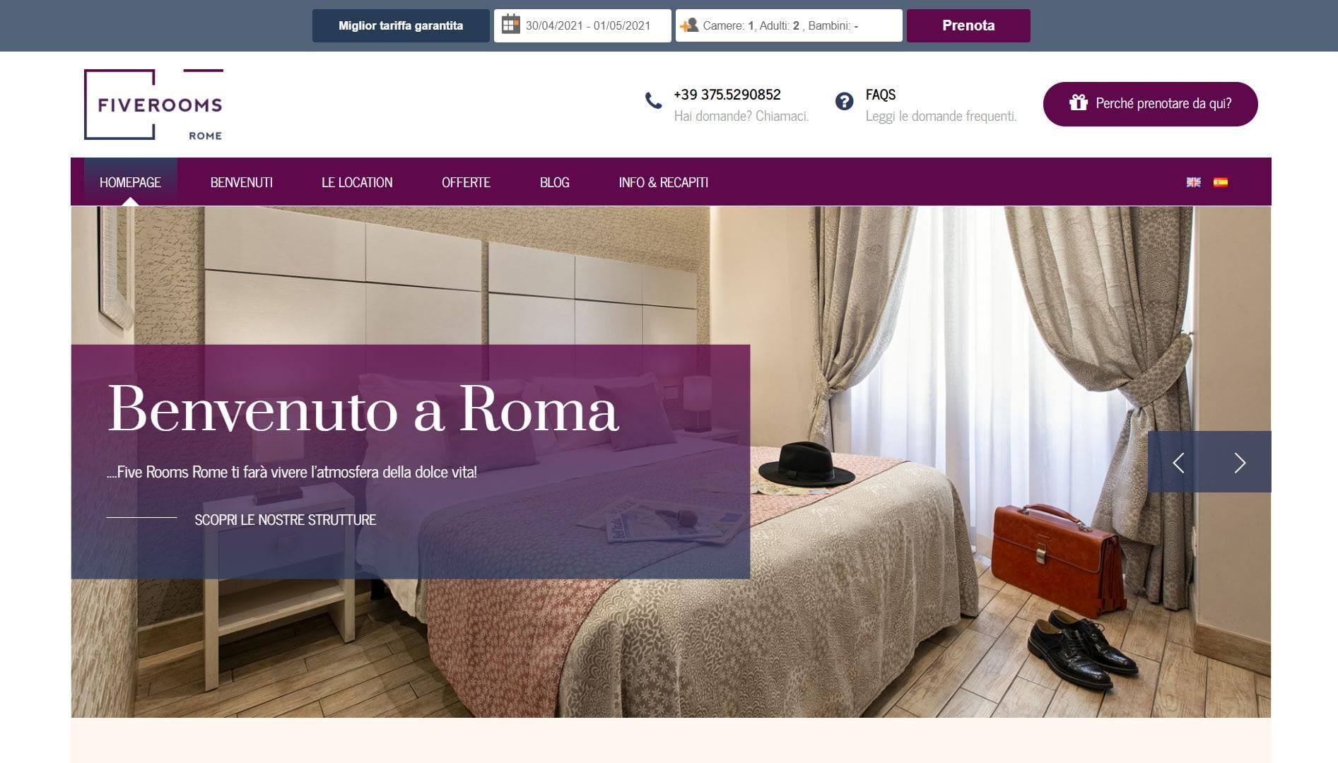 Realizzazione Sito web per bed and breakfast a Roma