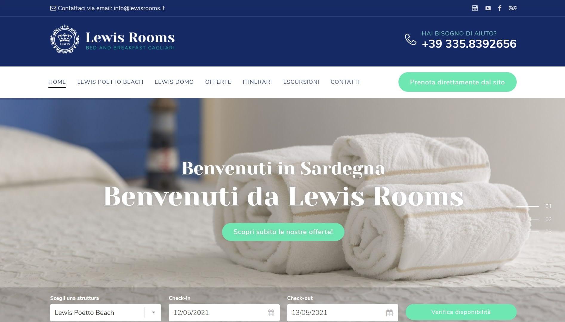 Sito web per b&b Lewis Rooms 1