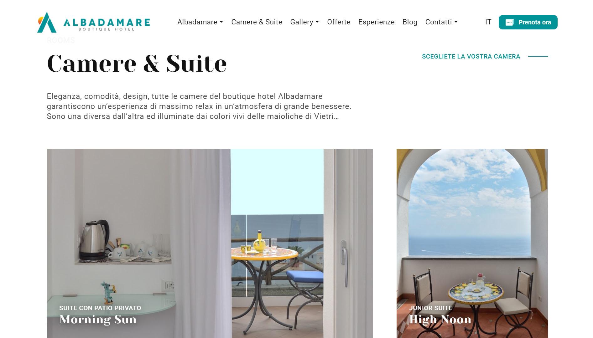 Albadamare Sito web per boutique hotel 2