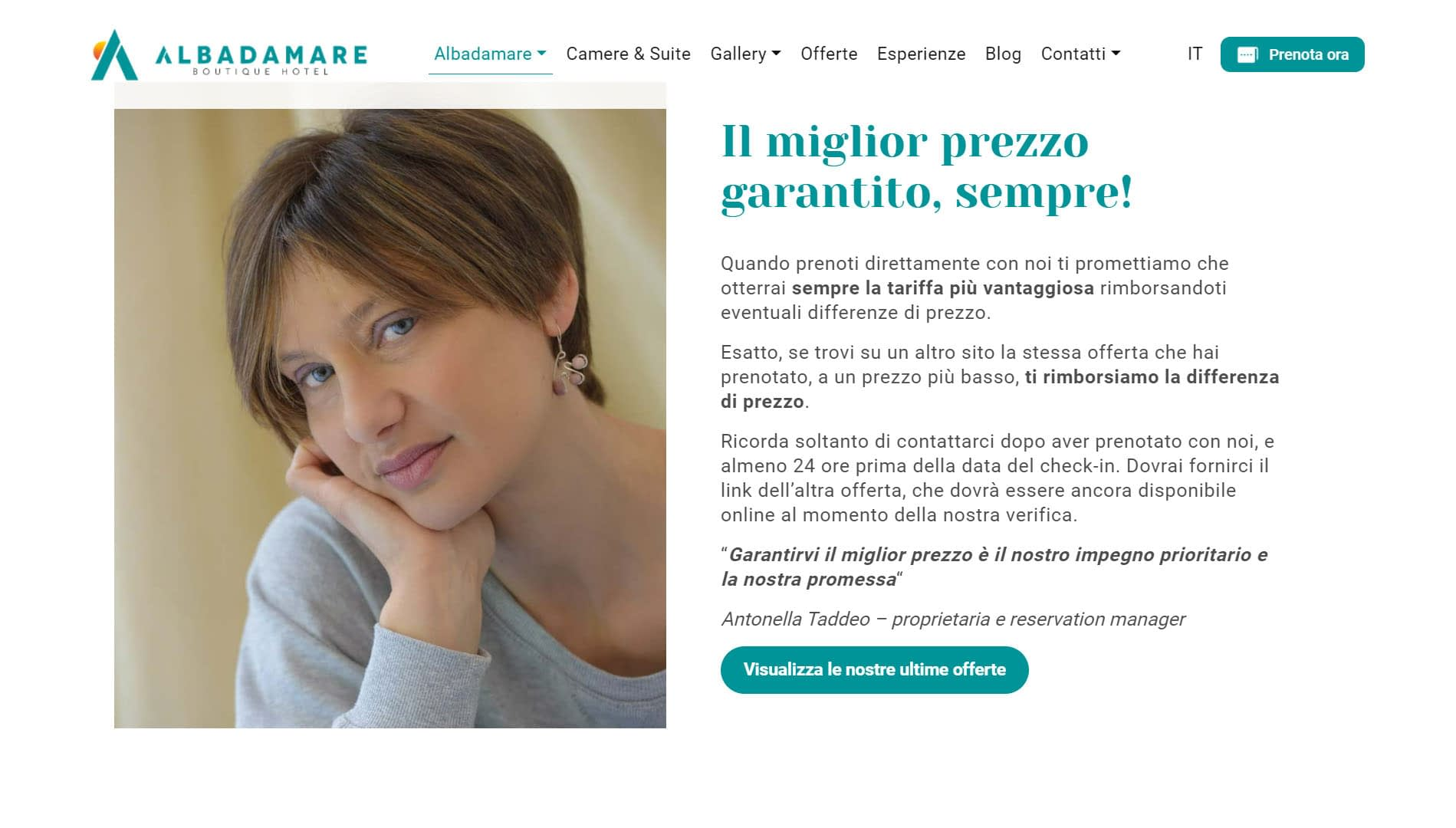 Albadamare Sito web per boutique hotel 6