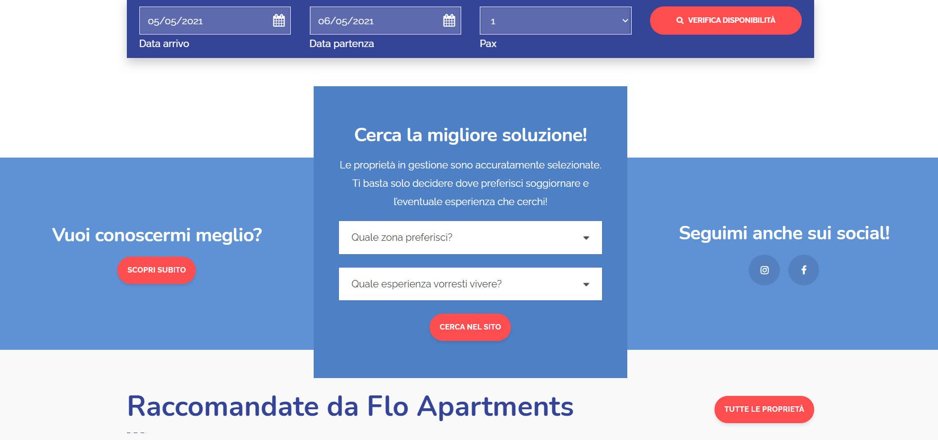 Realizzazione sito web per property Manager: Flo Apartments 2