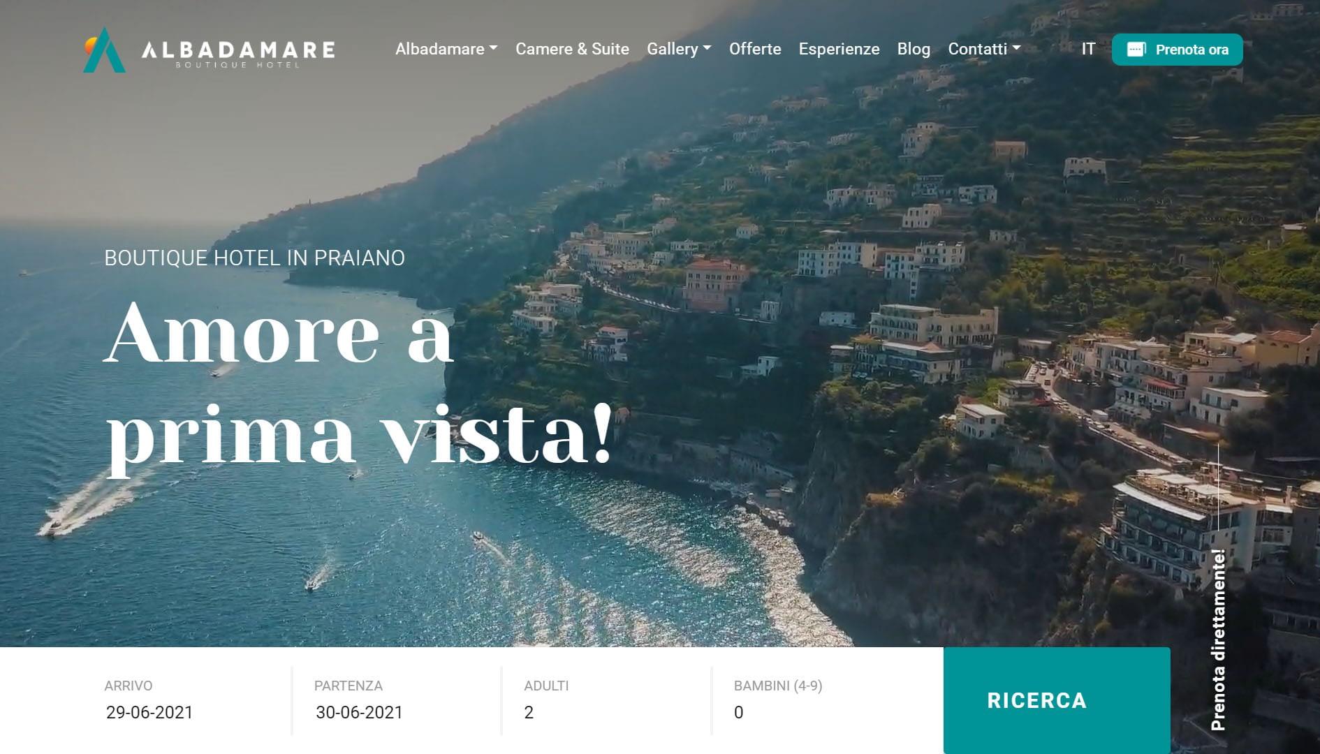 Albadamare Sito web per boutique hotel