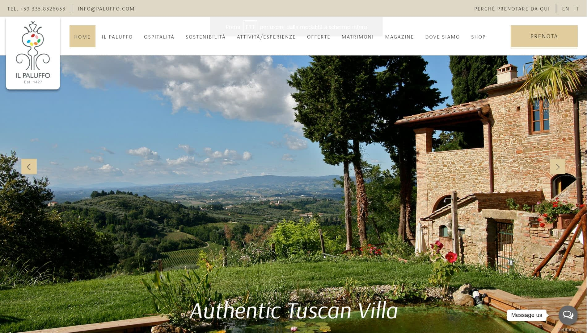 Sito web per Villa in Toscana